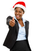 Cute African American businesswoman thumbs up sign wearing Christmas hat — Photo
