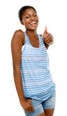 African American student holding thumbs up — Stock Photo