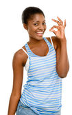 Pretty Young African American Woman okay sign — Stock Photo
