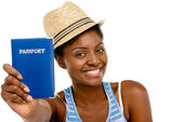 Happy African American Woman tourist holding passport — Stock Photo