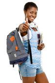 Sukces ucznia african american kobieta trzyma kciuki — Zdjęcie stockowe