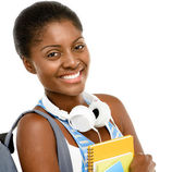 Successful African American student woman going back to school — Stock Photo