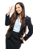 Signo bien atractiva empresaria india — Foto de Stock