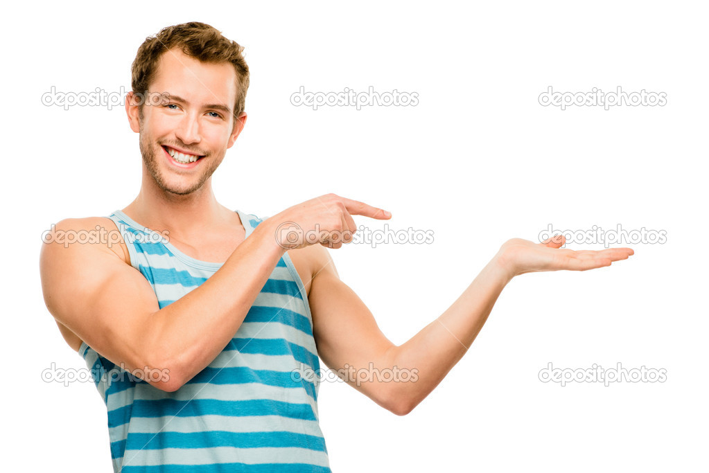 Happy young man showing empty copyspace on white background — Stock Photo #14814645