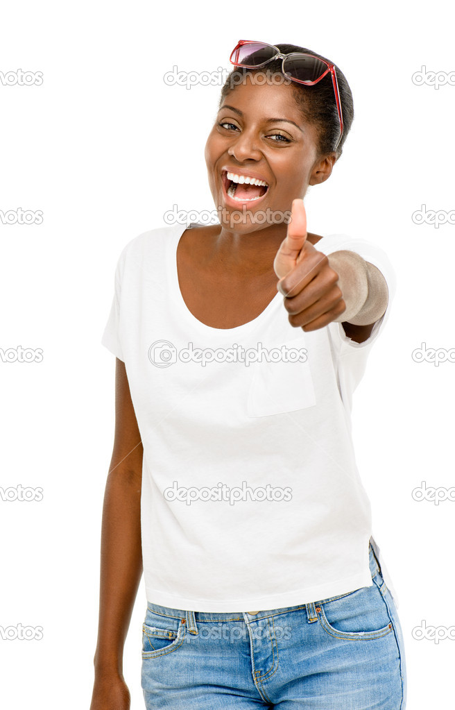 Succesful African American student holding thumbs up white background  Stock Photo #14817721