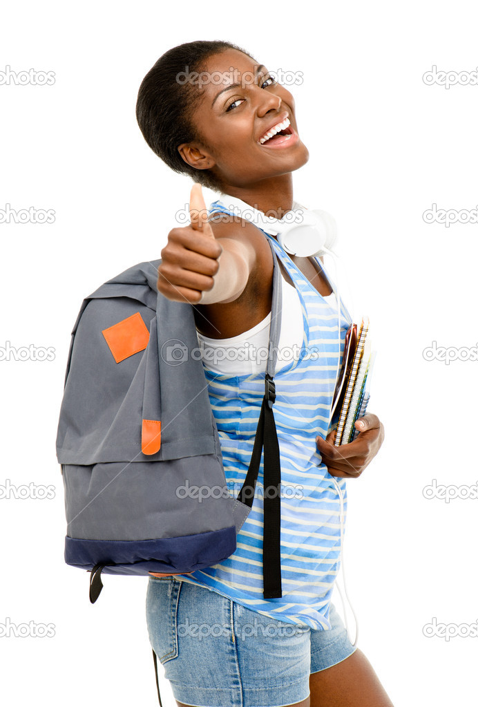 Successful African American student woman going back to school isolated on white background  Stock Photo #14817997