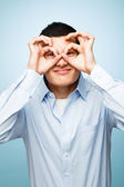 Closeup crazy portrait silly funny face young man — Stock Photo