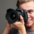 Professional photographer using digital camera — Vídeo de stock