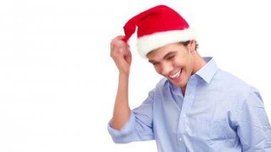 Young man wearing chistmas santa hat — Stock Video