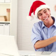 Businessman wearing santa hat for christmas celebrating — Stock Video #15410913