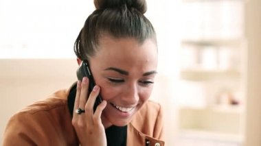Cute intern using mobile phone — Stock Video