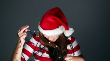 Smiling christmas girl — Stock Video