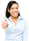 Happy mixed race business woman thumbs up isolated on white back — Stock Photo