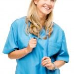 Mature nurse woman happy isolated on white background — Stock Photo