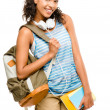 Happy mixed race woman student going back to school — Stock Photo #19469723