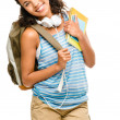 Happy mixed race woman student going back to school - Stock Photo