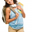 Happy mixed race woman student going back to school - Stockfoto