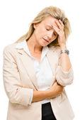 Mature woman has headache — Stock Photo