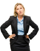 Stupid mature business woman isolated on white background — Stock Photo