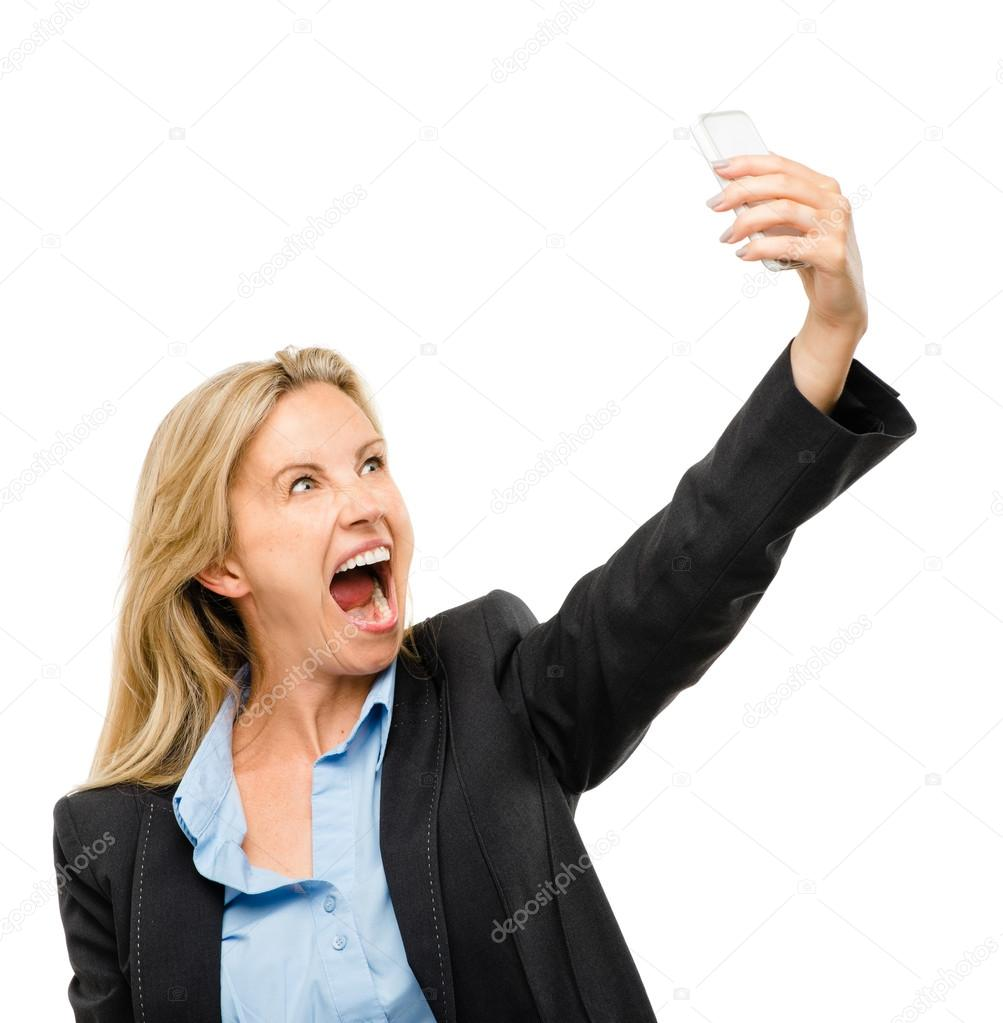 Video messaging mobile phone woman happy mature isolated on white background — Stock Photo #19467973