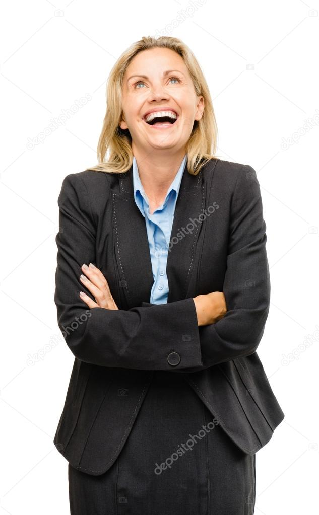 Happy mature business woman thinking isolated on white background  Stock Photo #19468139