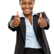 Happy African American business woman thumbs up isolated on whit — Stock Photo
