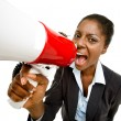 African American business woman holding megaphone isolated on white — Stok fotoğraf