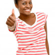 Beautiful African American woman happy thumbs up isolated on whi — Stock Photo