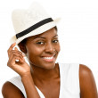 Beautiful African American Woman Close up portrait isolated on w — Stock Photo