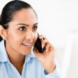 Indian business woman mobile phone excited — Stock Photo #19474537