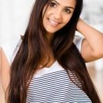 Beautiful Indian woman portrait happy smiling — Stock Photo