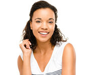 Beautiful mixed race Woman smiling portrait isolated on white ba — Stock Photo