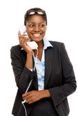 Happy African American woman using analogue phone — Stock Photo