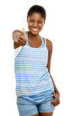 Beautiful African American woman thumbs up isolated on white bac — Stock Photo