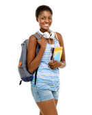 Successful African American Student woman back to school isolated on white background — Stock Photo