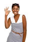 Happy African American Woman okay sign isolated white background — Stock Photo