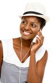 Mooie afrikaanse amerikaanse vrouw dicht omhoog portret geïsoleerd op witte achtergrond — Stockfoto