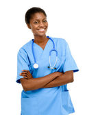 Portrait confident African American female doctor white background — Stock Photo