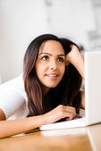 Indian business woman using computer happy — Stock Photo