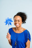 Funny woman portrait real high definition blue background — Stock Photo