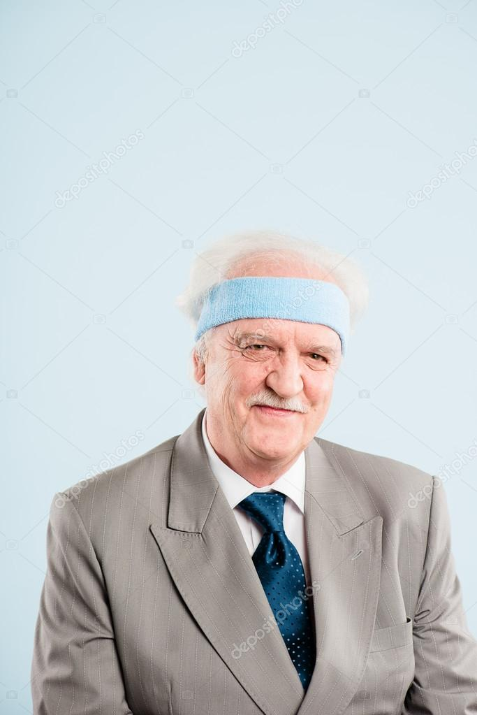 Funny man portrait real high definition blue background — Stock Photo #19481735