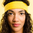 Funny woman portrait real high definition yellow backgroud - Stock Photo