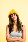 Funny woman portrait real high definition yellow backgroud — Stock Photo