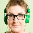 Stock Photo: Funny woman portrait real high definition green backgroun