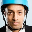 Funny man wearing cycling helmet portrait real high defin - Foto Stock