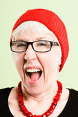 Funny woman portrait real high definition green backgroun — Stock Photo