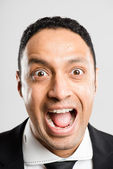 Funny man portrait real high definition grey background — Stock Photo