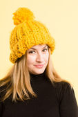 Happy woman portrait real high definition yellow backgrou — Stock Photo