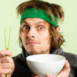 Stock Photo: Funny mportrait real high definition green background