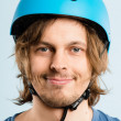 Funny man wearing cycling helmet portrait real high defin — Stock Photo